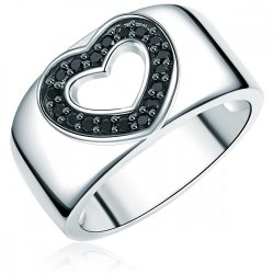 RafaelaDonata gyűrű Sterling ezüst cirkónia Feketeszívform gyűrű 50