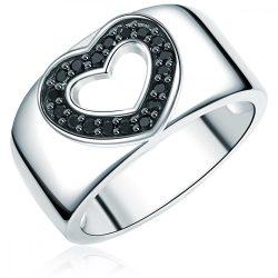 RafaelaDonata gyűrű Sterling ezüst cirkónia feketeszívform gyűrű 56