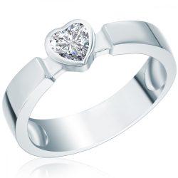 RafaelaDonata gyűrű Sterling ezüst cirkónia Fehérszívförmig gyűrű 54
