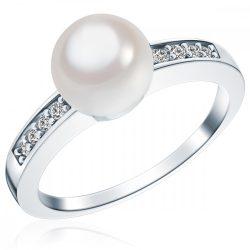 RafaelaDonata gyűrű Sterling ezüst Südsee-MuschelkernGyöngy Fehércirkónia Fehér gyűrű 50
