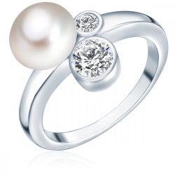 Valero Pearls gyűrű Sterling ezüst -ZuchtGyöngy fehércirkónia fehér gombform gyűrű 54