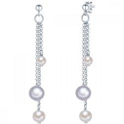 Valero Pearls fülbevaló Sterling ezüst -gyöngyfehér / szürke