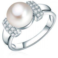 Valero Pearls gyűrű Sterling ezüst -ZuchtGyöngy fehérgombform cirkónia fehér gyűrű 52