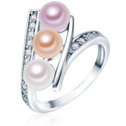 Valero Pearls gyűrű Sterling ezüst -gyöngy fehér /apricot / flieder cirkónia fehér gyűrű 52