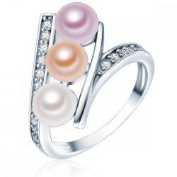 Valero Pearls gyűrű Sterling ezüst -gyöngy fehér /apricot / flieder cirkónia fehér gyűrű 54