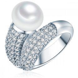 Valero Pearls gyűrű Sterling ezüst -ZuchtGyöngy fehércirkónia fehér Pavé gyűrű 50