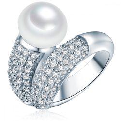 Valero Pearls gyűrű Sterling ezüst -ZuchtGyöngy fehércirkónia fehér Pavé gyűrű 58