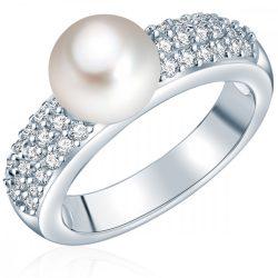 Valero Pearls gyűrű Sterling ezüst -ZuchtGyöngy fehércirkónia fehér csiszolt gyűrű 52