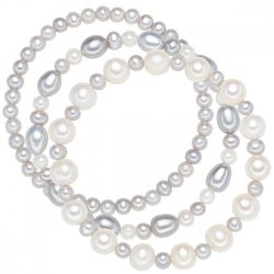 Valero Pearls 3-er szett karkötő -gyöngyfehér / szürke