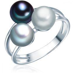 Valero Pearls gyűrű Sterling ezüst -gyöngyzürke / ezüstszürke / kék gyűrű 56