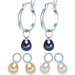 Valero Pearls fülbevaló Sterling ezüst tartalmaz 3-er szett Einhänger-gyöngy Fehér/apricot/pfauenKék