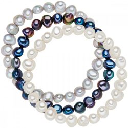 Valero Pearls 3er szett gyöngy fehér / ezüst / sötétkék karkötő