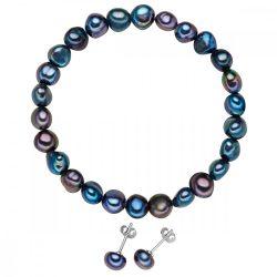 Valero Pearls 2er szett gyöngy sötétkék karkötőund