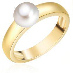 Valero Pearls gyűrű Sterling ezüst arany -ZuchtGyöngy fehér gyűrű 54