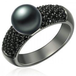 Valero Pearls gyűrű Sterling ezüst geschwärzt -ZuchtGyöngy pfauenkék cirkónia fekete gyűrű 54