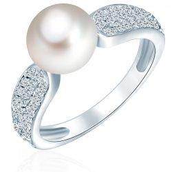 Valero Pearls gyűrű Sterling ezüst -ZuchtGyöngy fehér cirkónia fehér gyűrű 60