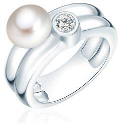 Valero Pearls gyűrű Sterling ezüst -ZuchtGyöngy fehér cirkónia fehér gyűrű 52