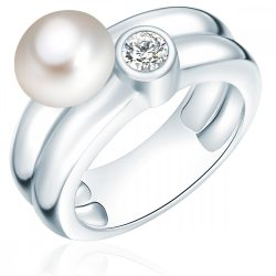 Valero Pearls gyűrű Sterling ezüst -ZuchtGyöngy fehér cirkónia fehér gyűrű 54
