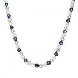 Valero Pearls Lánc Sterling ezüst -gyöngy fehér ezüst pfauenkék Hossz: 40 cm + 5 cm