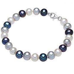 Valero Pearls karkötő Sterling ezüst -gyöngy fehér ezüst pfauenkék Hossz: 17 cm