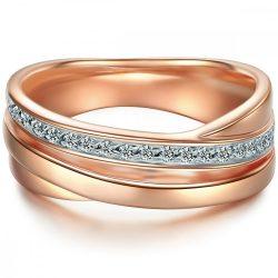 Tresor gyűrű Sterling ezüst rosearanyArany cirkónia fehér gyűrű 52
