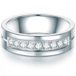 Tresor gyűrű nemesacél cirkónia Fehér gyűrű 48