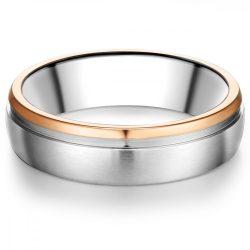 Tresor gyűrű nemesacél ezüst/ rosearany vörösarany Aranyozott gyűrű 58