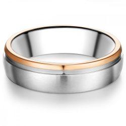 Tresor gyűrű nemesacél ezüst/ rosearany vörösarany Aranyozott gyűrű 60