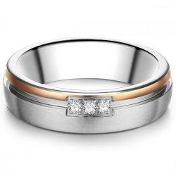 Tresor gyűrű nemesacél ezüst/rosearanyArany cirkónia fehér gyűrű 50