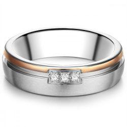 Tresor gyűrű nemesacél ezüst/ rosearany vörösarany aranyozott cirkónia Fehér gyűrű 50