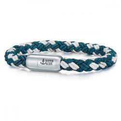 Skipper & Son Segeltau karkötő nemesacél ezüst/kékmintás Hossz: 22 cm