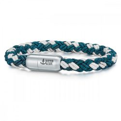 Skipper & Son Segeltau karkötő nemesacél ezüst/Kékmintás Hossz: 24 cm