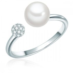 Valero Pearls gyűrű Sterling ezüst -gyöngy Fehér gyűrű 54