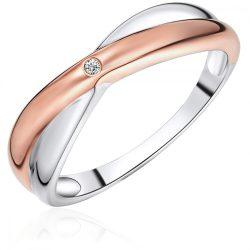 RafaelaDonata gyűrű Sterling ezüst  rosearany vörösarany aranyozott / rhodiniert Diamant gyűrű 56