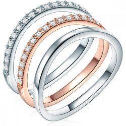 RafaelaDonata 3er szett Gyűrű Ékszere Sterling ezüst cirkónia Fehér gyűrű 52