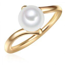 Valero Pearls gyűrű Sterling ezüst arany -gyöngy fehér gyűrű 54