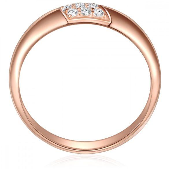 RafaelaDonata gyűrű Sterling ezüst rózsaaranyaranyozott cirkónia Fehér gyűrű 52