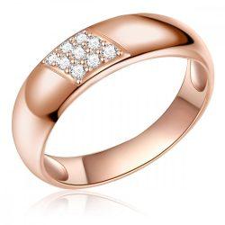 RafaelaDonata gyűrű Sterling ezüst rózsaaranyAranyozott cirkónia Fehér gyűrű 54