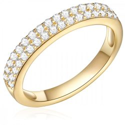 RafaelaDonata gyűrű Sterling ezüst sárga aranyozott cirkónia Fehér gyűrű 56