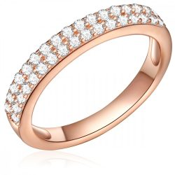 RafaelaDonata gyűrű Sterling ezüst rózsaaranyaranyozott cirkónia Fehér gyűrű 58