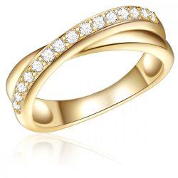 RafaelaDonata gyűrű Sterling ezüst arany cirkónia fehér gyűrű 54