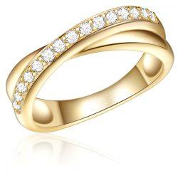 RafaelaDonata gyűrű Sterling ezüst sárga aranyozott cirkónia Fehér gyűrű 54