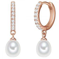 Valero Pearls fülbevaló Sterling ezüst rosearanyArany -gyöngy fehér