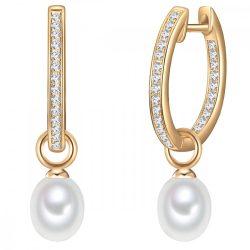 Valero Pearls fülbevaló Sterling ezüst arany -gyöngy fehér