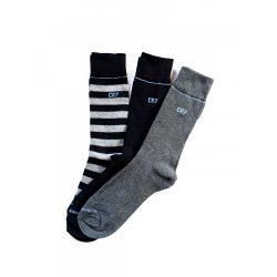 Cristiano Ronaldo férfi zokni 3db-os 8273-80-100 csíkos szürke fekete/ csíkok szürke fekete 40/46