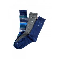 Cristiano Ronaldo férfi zokni 3db-os 8273-80-105 csíkos szürke kék/ csíkok szürke kék 40/46