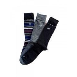 Cristiano Ronaldo férfi zokni 3db-os 8273-80-107 csíkos szürke fekete/ csíkok szürke fekete 40/46