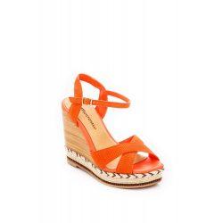 Montonelli Prémium Valódi Bőr  női narancssárga magassarkú cipő 36 /kac