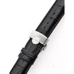 Perigaum bőr szíj 22 x 175 mm feketeezüst összecsukható kapocs Karkötő