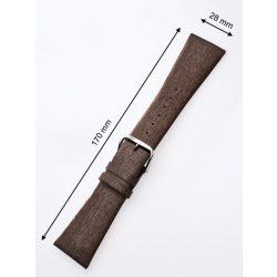 Perigaum  -bőr-szíj 28 x 170 mm barnaezüst kapocs Karkötő